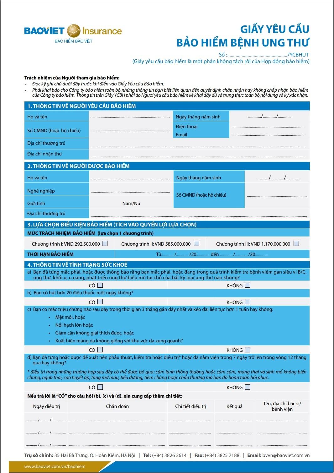 giấy yêu cầu bảo hiểm ung thư kcare